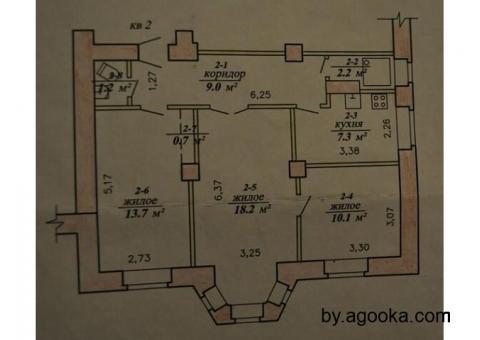 3-комнатную квартиру для жилья или под магазин